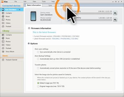 Samsung Kies 2.6 Back Up Restore