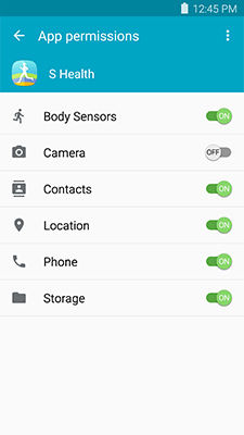 Galaxy S6_App permissions_On/Off