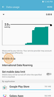Samsung touch Mobile data