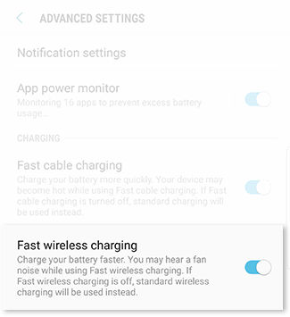 turn on fast wireless charging