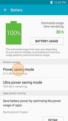 Samsung touch Power saving mode