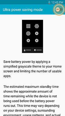 Samsung enable Ultra power saving mode