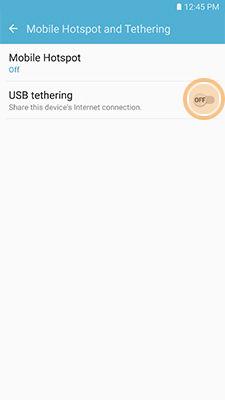 Samsung enable USB tethering