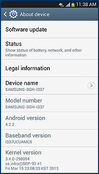 Samsung Galaxy S4 Android Baseband Version