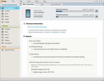 Samsung Kies 2.6 how to connect My Device