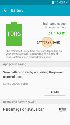 Samsung touch BATTERY USAGE