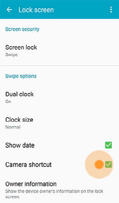 Samsung Galaxy S5 Camera Lock Screen