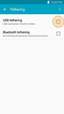 Samsung select USB tethering