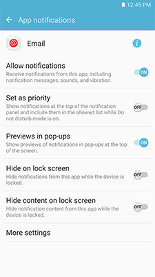 Samsung enable notification options