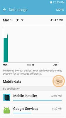 Samsung enable Mobile data