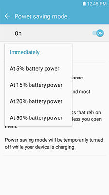 Samsung touch Start power saving