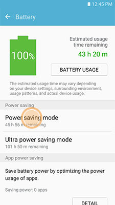 Samsung touch Power saving mode