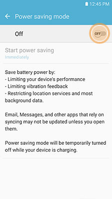 Samsung enable Power saving mode