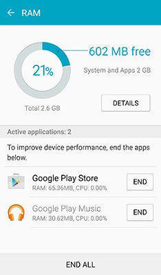 Samsung Galaxy S6 Smart Manager Application