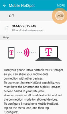 Samsung GalaxyS6 Turn On Mobile Hotspot