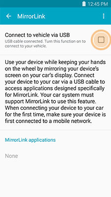 Samsung GalaxyS5 Sport Enable MirrorLink