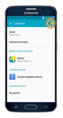 Samsung Galaxy J1 Turn On Location