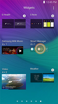 Samsung Galaxy Note5 Touch Hold Smart Manager Widget