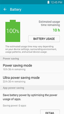 Samsung Galaxy Note5 Smart Manager Battery Overview