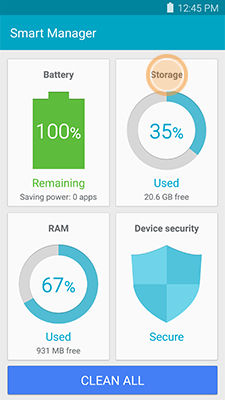 Samsung Galaxy Note5 Smart Manager Touch Storage