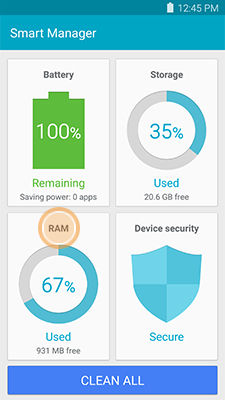 Samsung Galaxy Note5 Smart Manager Touch RAM