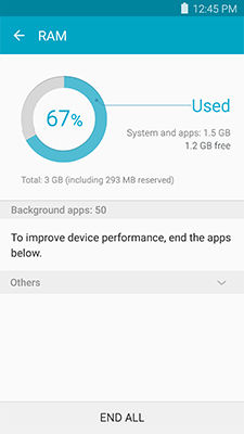 Samsung Galaxy Note5 Smart Manager RAM Overview