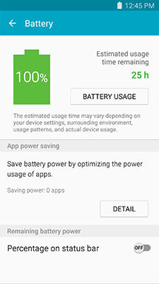 Samsung GalaxyS5 Smart Manager Battery Overview