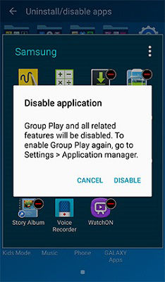 Samsung Galaxy Note3 Disable App