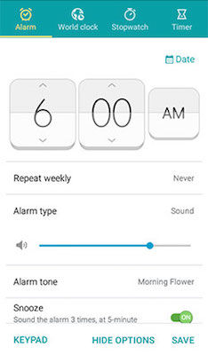 Samsung Alarm Options