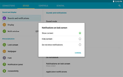 Samsung Galaxy Note 10.1 2014 Edition Lock Screen Notifications