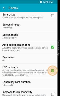 Samsung Galaxy Note4 Changing the LED Settings