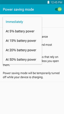 Samsung touch Start power saving