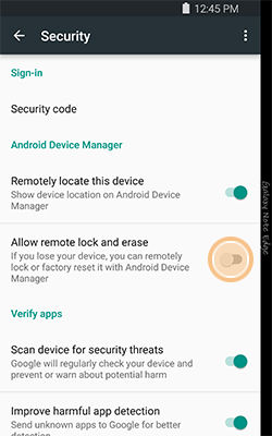 Samsung enable Allow remote lock and erase