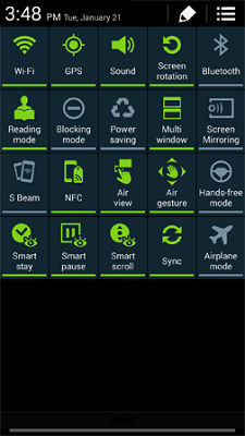 Samsung Galaxy S4 Notification Panel
