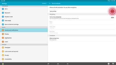 Samsung Galaxy View Setup Do Not Disturb