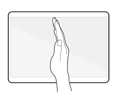 place the side of your hand on the screen and swipe it across the screen from the right to the left or vice versa to capture a screenshot