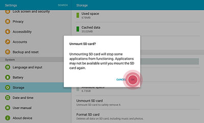 Samsung Touch OK to unmount SD card