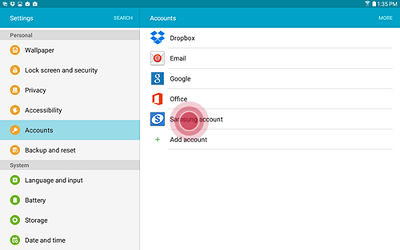 Samsung Touch Samsung Account