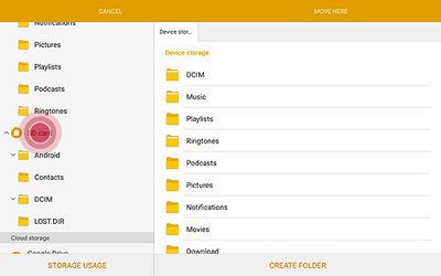 how to create folders on samsung tab e