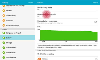 Samsung touch Battery > Power saving mode