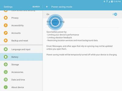 Samsung Galaxy Tab S2 Power Saving Mode