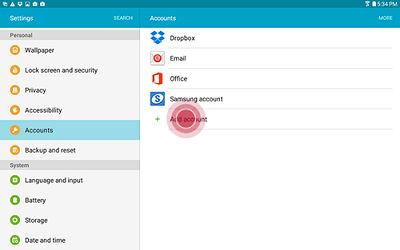 Samsung Touch Add Account