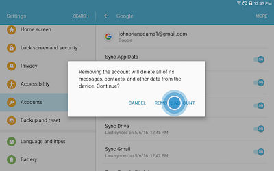 Samsung Touch REMOVE ACCOUNT