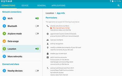 Samsung Galaxy Tab S Location Settings
