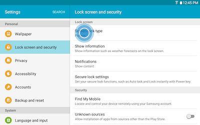 Samsung set up lock screen pin tab