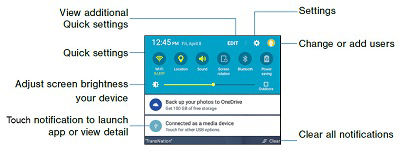 Samsung Galaxy Tab A Notification Panel