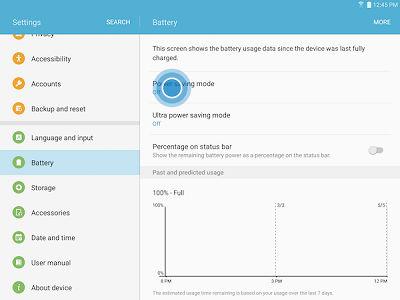 Samsung Galaxy Tab A Power Saving Mode