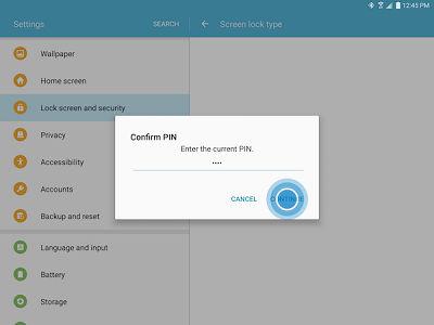 Samsung Enter Credentials then CONTINUE