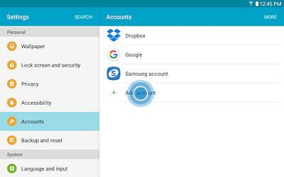 Samsung Galaxy Tab A Email Account
