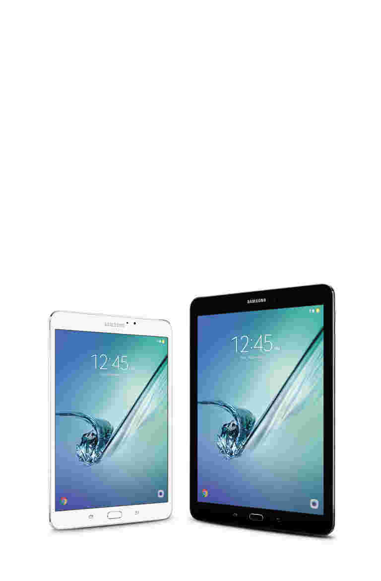 White, 8-inch Samsung Galaxy Tab S2 and Black, 9.7-inch Tab S2